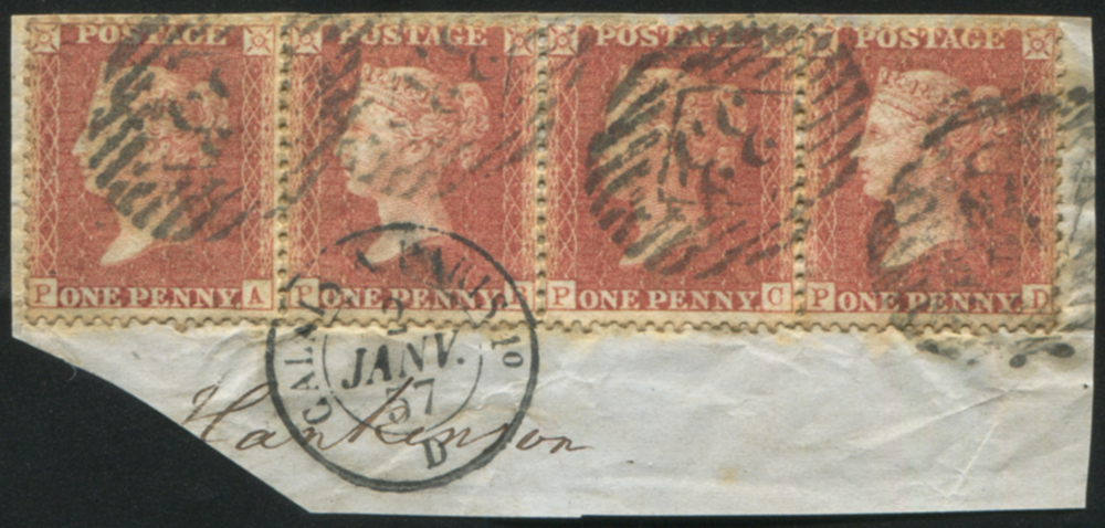 1855 1d red-brown Pl.43 strip of four used on piece, cancelled by LONDON Inland Office '33' numerals & CALAIS transit c.d.s.