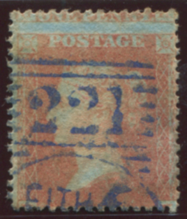 1857 1d orange-brown Perf 14, cancelled by the LEITH '221' experimental duplex in blue