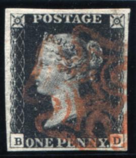 1840 1d black - Plate 6 BD