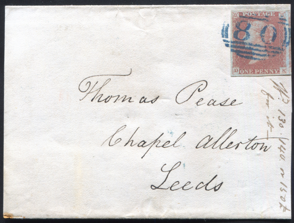 1841 1d red-brown (DK), blue handstamp on reduced wrapper from Bishop Auckland to Leeds, cancelled by the '80' in blue ink