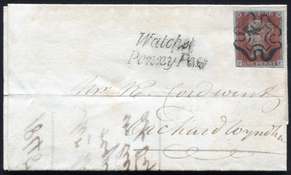 1844 1d red-brown Pl.48 exceptionally fine used on entire from Watchet to Orchard Wyndham, cancelled by a black Maltese Cross