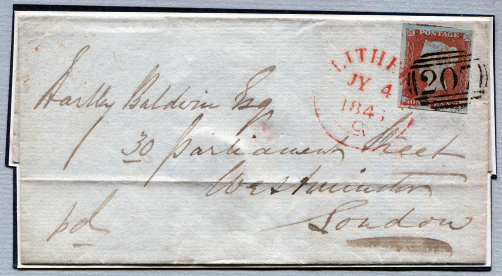 1846 1d red-brown Pl.59 on cover to London, cancelled with the'207' numeral in blue