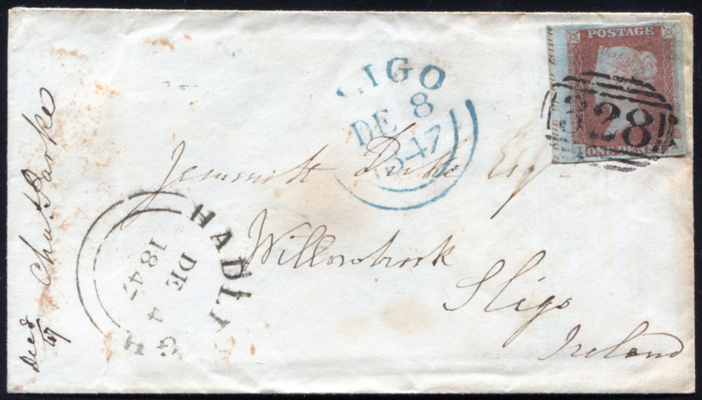 1845 1d red-brown Pl.61 superb on small envelope from HADLEIGH to SLIGO, cancelled by a neat '328' numeral