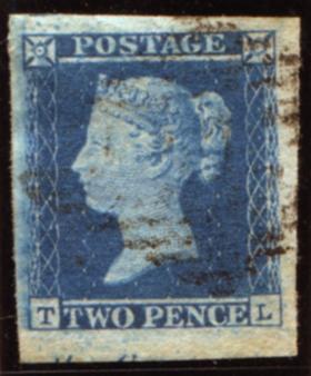1849 2d blue Pl.4 (TL),huge margin - a big stamp!