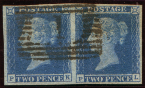1841 2d blue Pl.3 (PK-PL), VFU pair cancelled contrary to instructions by the ABERDEEN numeral '1'