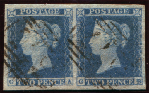 1849 2d blue Pl.4 (GA-GB) horizontal pair, cancelled by light numeral hand stamps