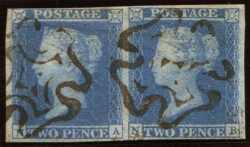 1841 2d blue Pl.3 (NA-NB) horizontal pair, two fine strikes of the watery black Maltese Cross
