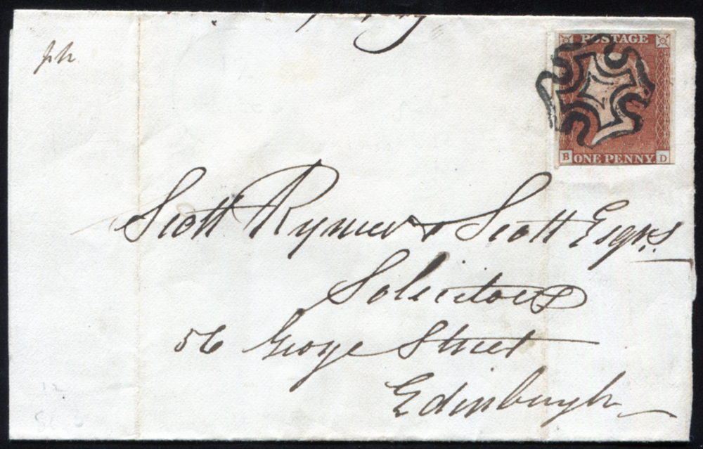 1841 1d red-brown Pl.12 (BD) on wrapper from Haddington to Edinburgh, cancelled black Maltese Cross
