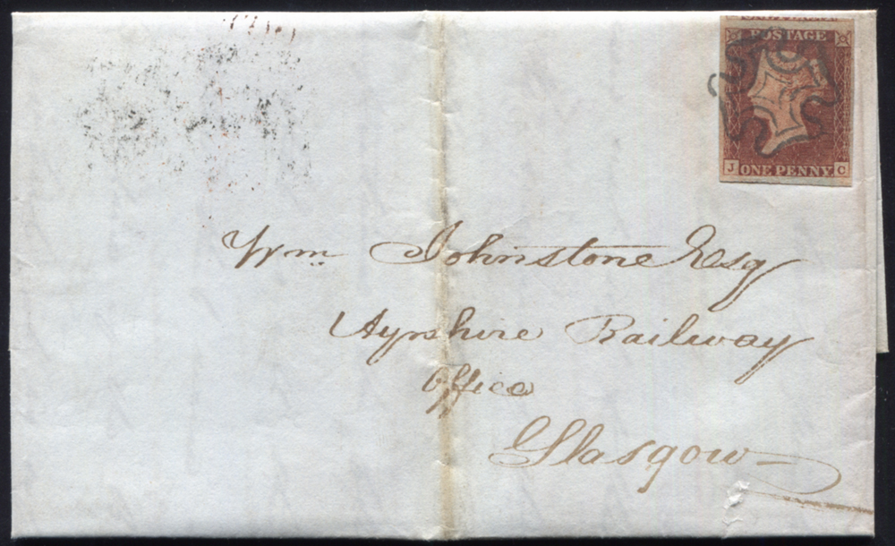 1841 1d red-brown Pl.14 (JC) on entire addressed to the Ayrshire Railway Office Glasgow, cancelled Edinburgh Maltese Cross