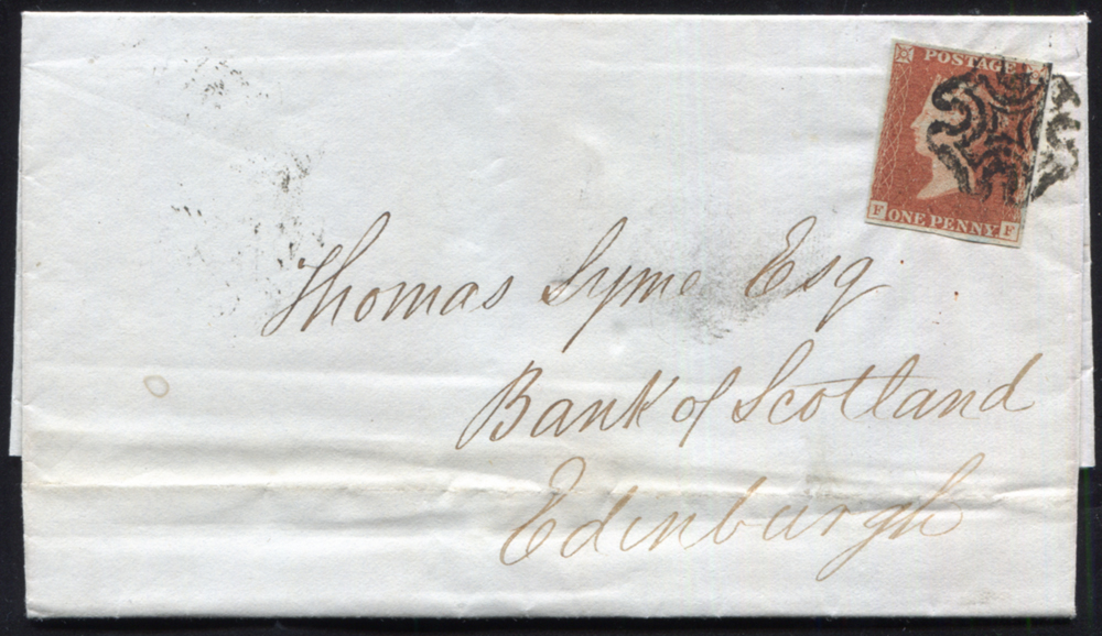 1842 1d red-brown Pl.25 (FF) on 'Bank of Scotland' entire from Dumfries to Edinburgh, cancelled black Maltese Cross