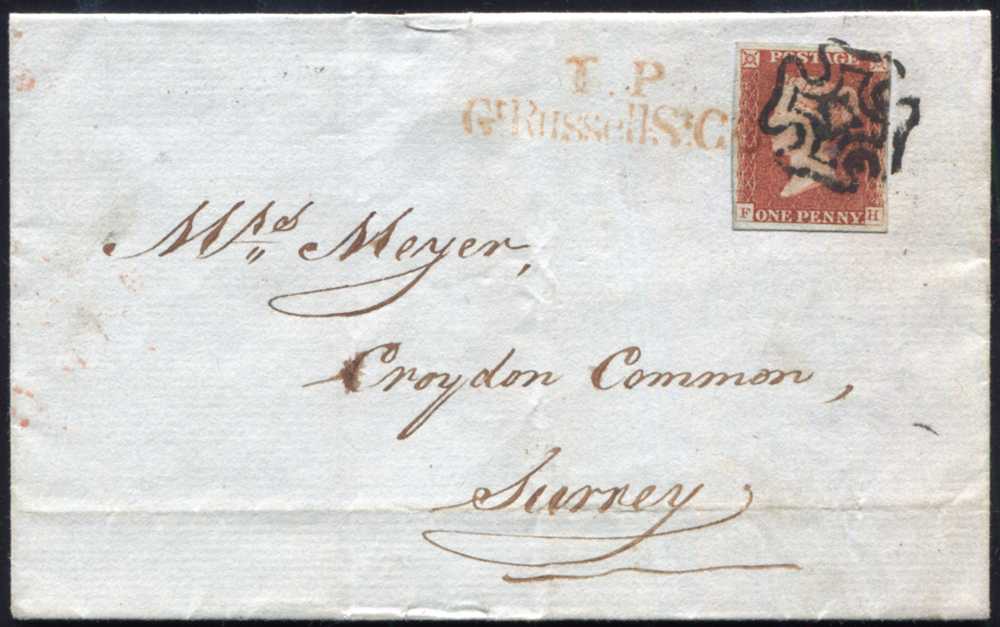 1842 red-brown Pl.23 (FH) on wrapper from London to Surrey, cancelled black Maltese Cross