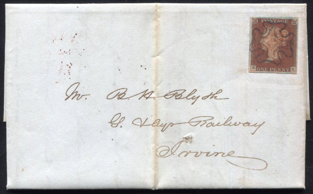 1841 1d red-brown Pl.16 (EK) on entire from Edinburgh to Irvine, superb central Maltese Cross