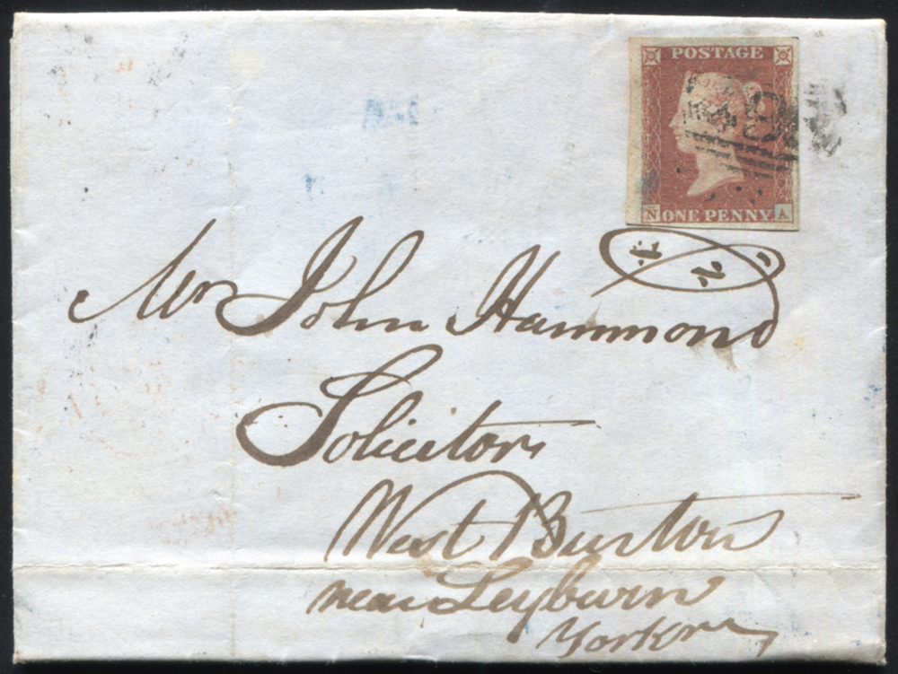 1850 1d red-brown (NA) on entire from Manchester to Leyburn, cancelled by the '498' numeral