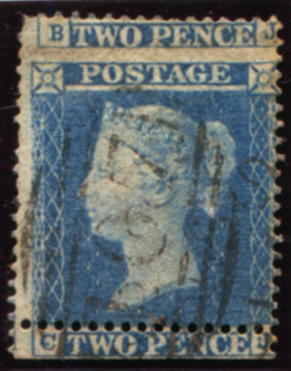 1854 2d pale blue Pl.4 (CJ) cancelled by the Bradford '107' numeral, dramatic upward shift of perforations