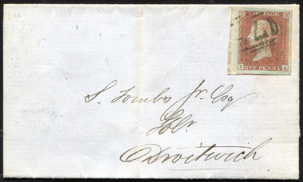 1851 1d red-brown on very blue paper Pl.123 (IA), gigantic margined example showing part inscription at left on entire from Birmingham on Droitwich