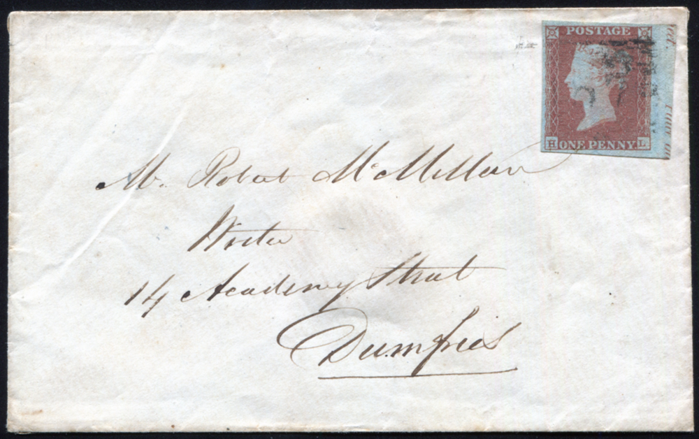 1851 1d red-brown Pl.108 (HL) on envelope addressed to Dumfries