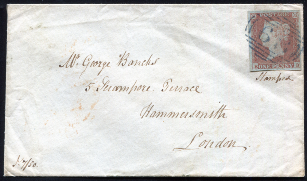 1841 1d red-brown Pl.92 (RB) used on envelope from Bewdley, Northumberland to London