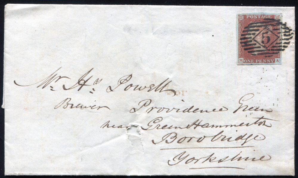 1847 1d red-brown Pl.76 (MA) on wrapper from London to Borobridge, Yorkshire, number '5' Inland Office hand stamp