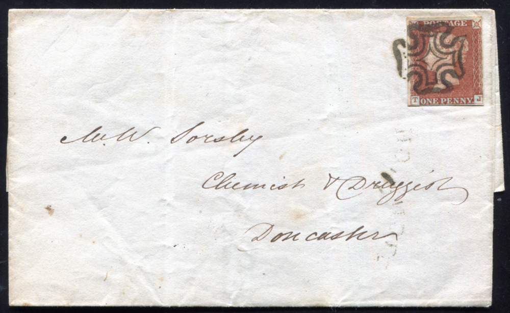 1843 1d red-brown Pl.27 (TJ) on cover, Ipswich to Doncaster