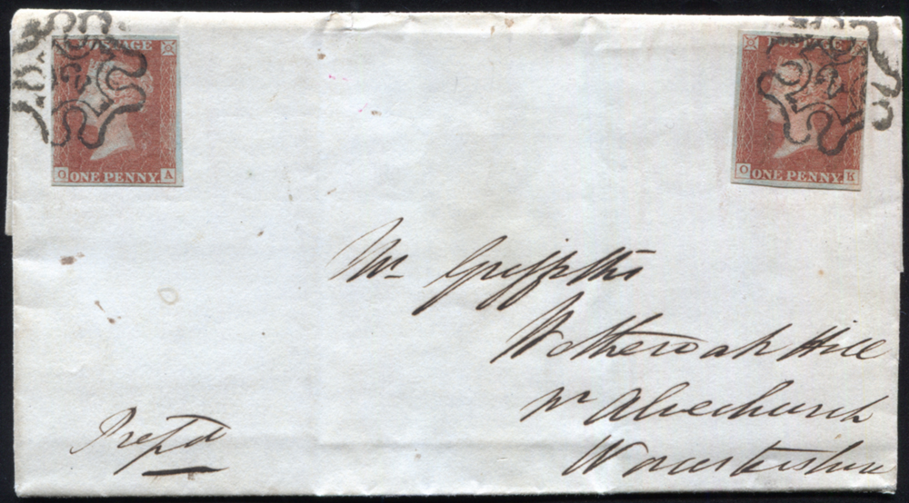 1843 1d red-brown Pl.31 (OA & OK) London Number '2' in Maltese Cross