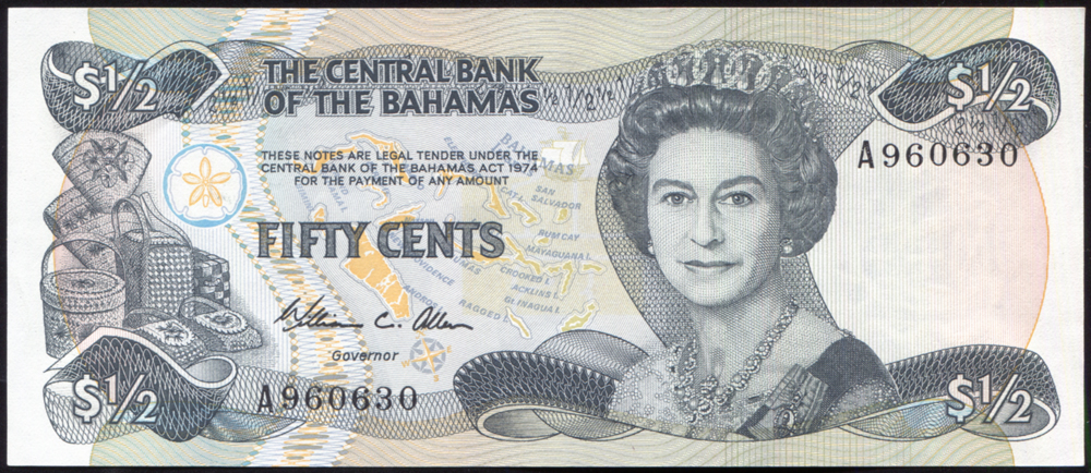 Bahamas 1984 ½ dollar green on multi-colour (A960630), UNC, P.42a.