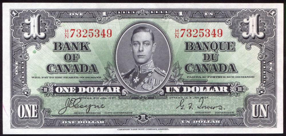 Canada 1937 $1 black on green 'Coyne/Towers' (H/N 7325349), UNC, P.58e.