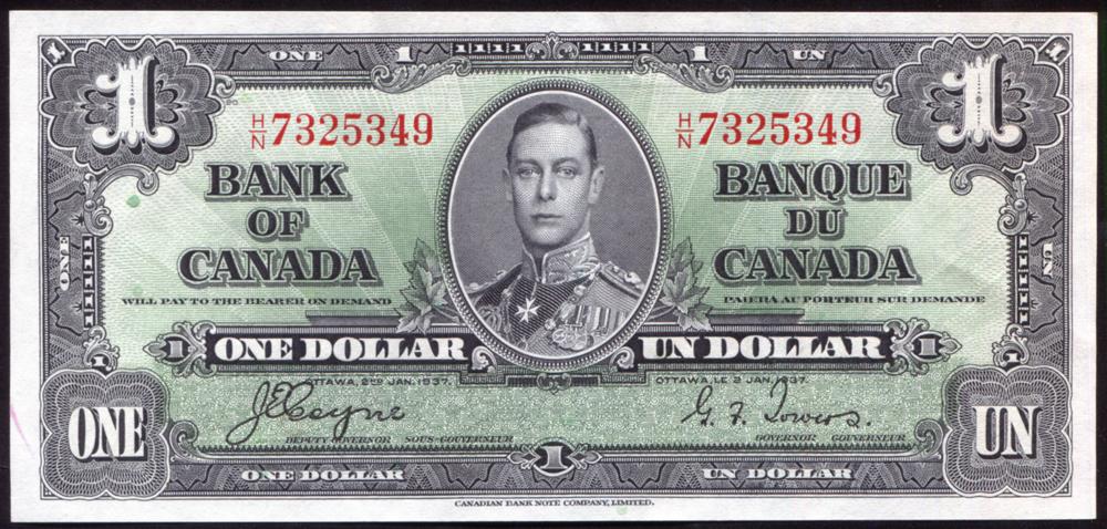 Canada 1937 $1 black on green 'Coyne/Towers' (H/N 7325349), UNC, P.58e.