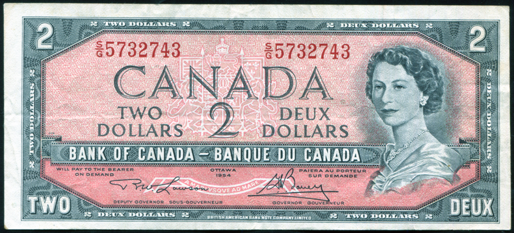 Canada 1954 $2 black on red-brown 'Lawson/Boney' (S/G 5732743), VF+, P.76d.
