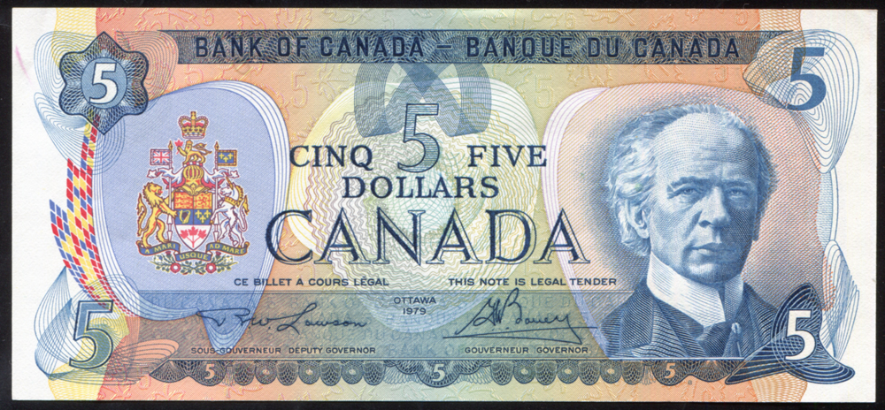 Canada 1979 $5 Sir Wilfred Laurier/Salmon fishing 'Lawson-Boney,' UNC, P.929