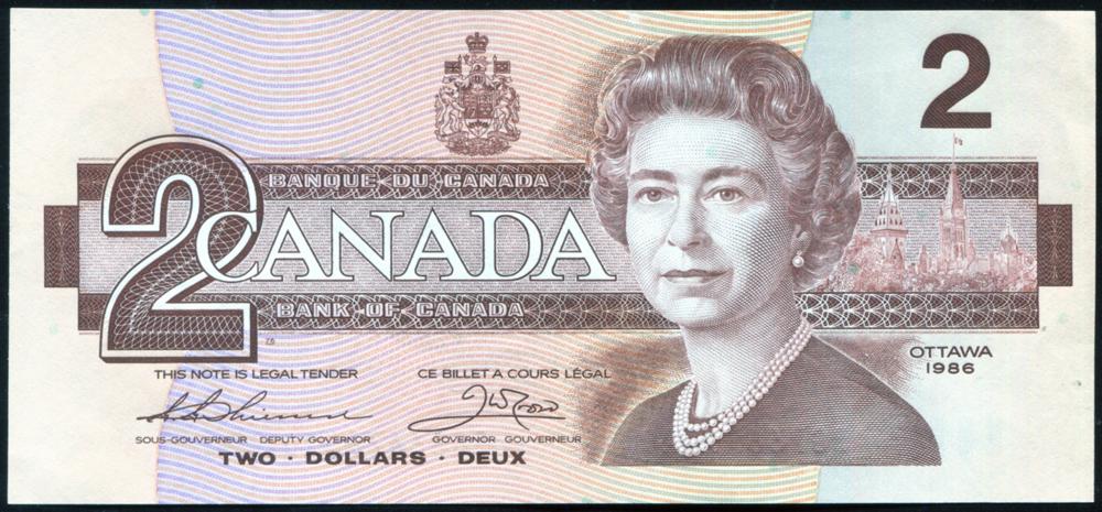 Canada 1986 $2 'Thiessen-Crow' (BGP 6679020), UNC, P.94b.