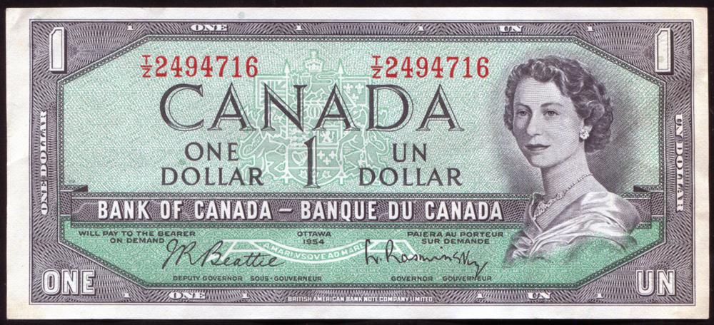 Canada 1954 $1 'Beattie-Rasminsky' (T/2 2494716), A/EF.