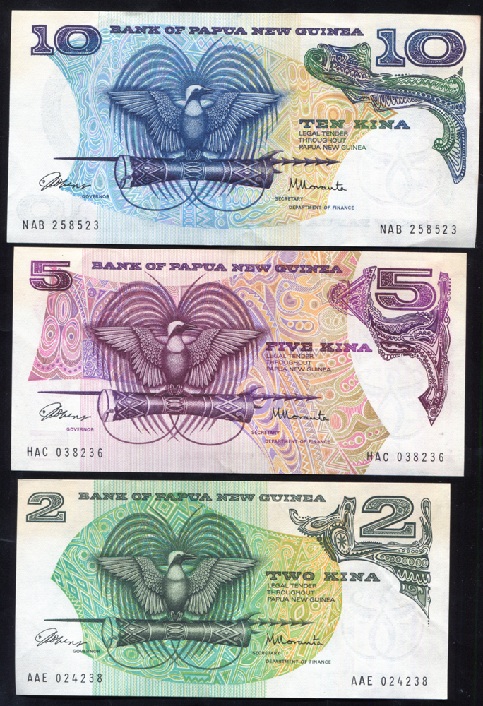 Papua New Guinea 1981 two kina, five kina & ten kina, all A/UNC, P.5/7.