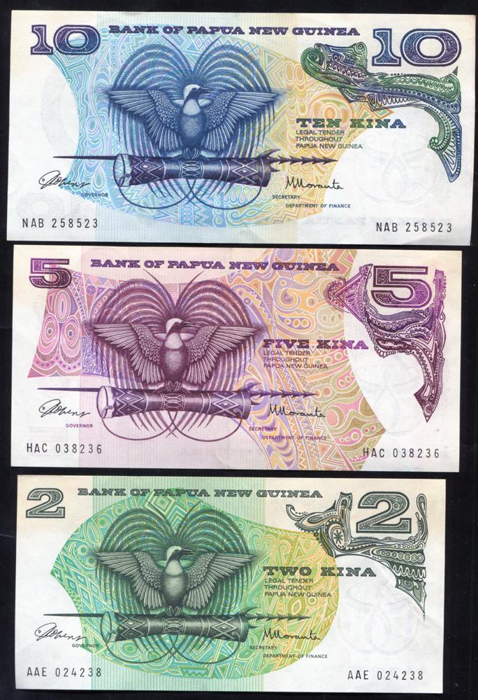 Papua New Guinea 1981 two kina, five kina & ten kina, all A/UNC, P.5/7.