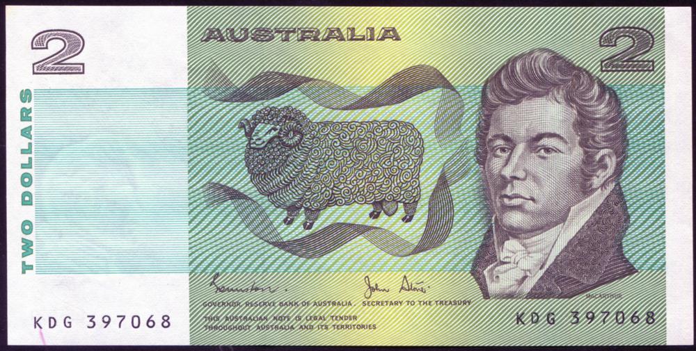 Australia 1983 $1 'Johnston/Stone' MacArthur/Farrier (KDG 397068), UNC, P.43.
