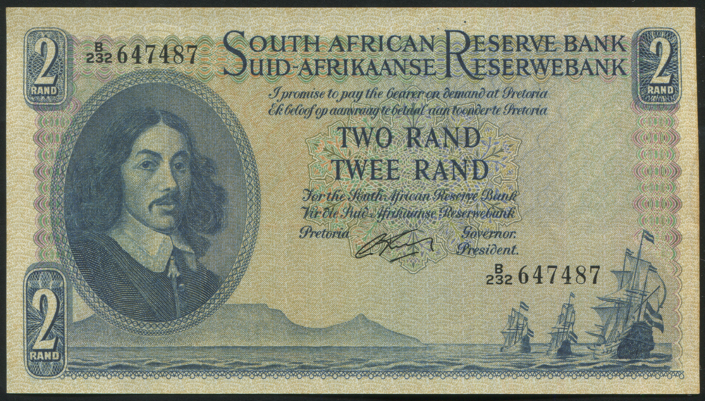 South Africa 1962-65 two rand 'G. Rissik' (B/232 647487), UNC, P.105b.