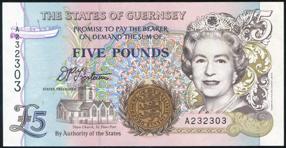 Guernsey 2000 £5 dark brown & purple (A232303), UNC, P.60.