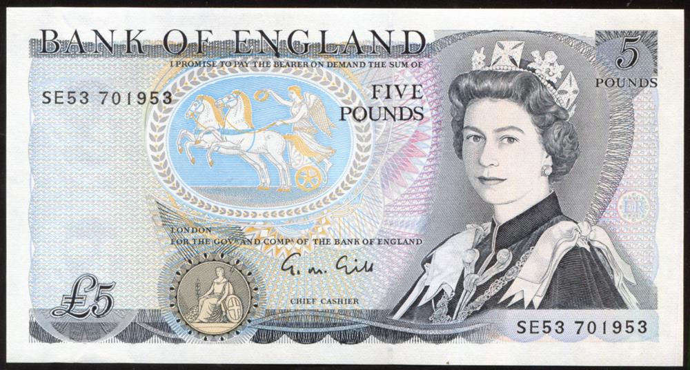 1988 Gill £5 Wellington (SE53 701953), A/UNC, Dugg B353.