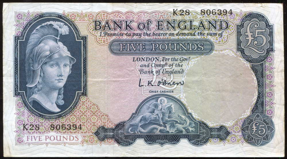 1961 O'Brien £5, Lion with Key (K28 806394), small nick at top, VF, Dugg B280.
