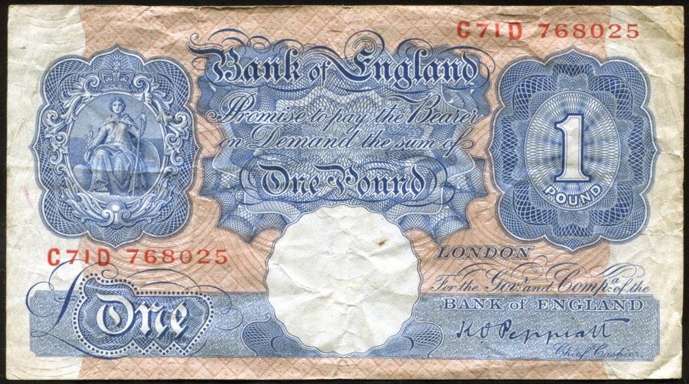 1940-48 Peppiatt £1 blue/pink (C71D 768025), fine, Dugg B249.