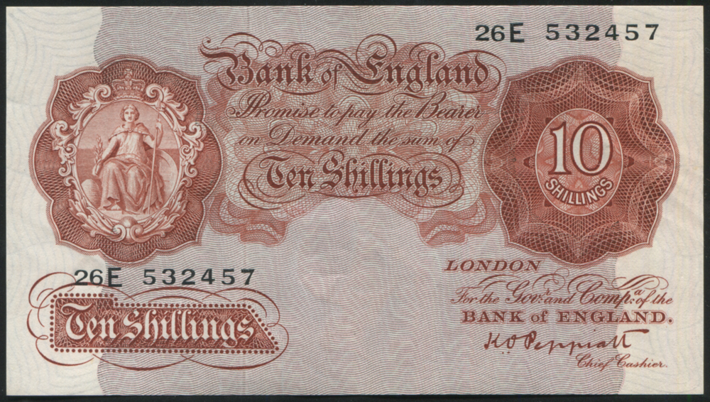 1948 Peppiatt 10s red-brown (26E 532457), EF++ Dug B262.