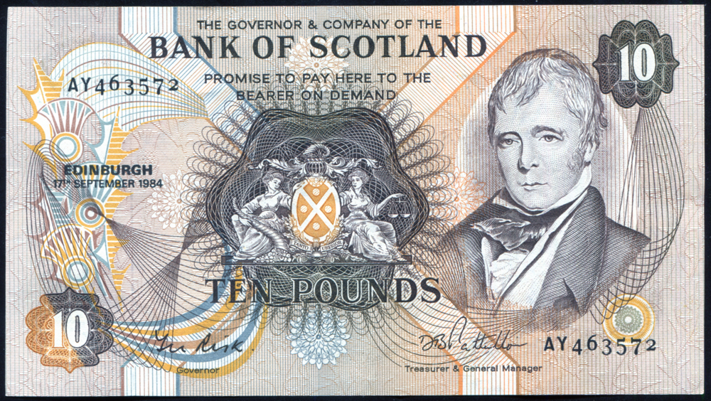 Bank of Scotland 1964 Sir Walter Scott £10 'Risk/Pattullo' (AY463572), A/EF, P.113c.