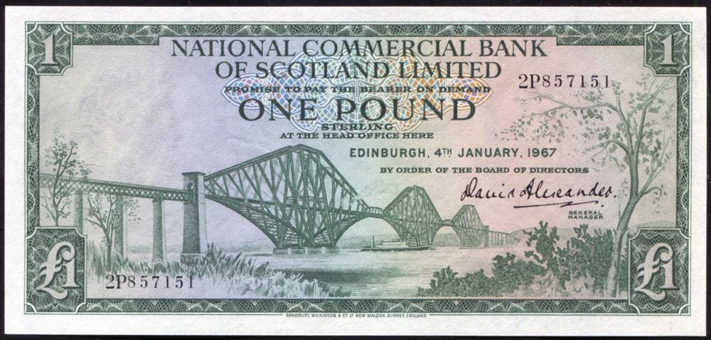 National Commercial Bank of Scotland 1967 £1 Forth Railway Bridge (2P857151), A/UNC, P.271a.