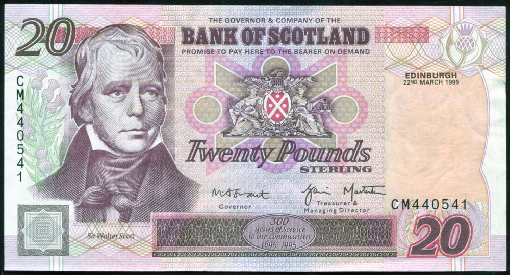 Bank of Scotland 1999 Sir Walter Scott £20 'Grant /Masterton' (CM440541), P.121c.