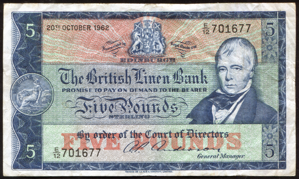 British Linen Bank 1962 Sir Walter Scott £5 'Anderson' (E/12 701677), VF, P.167a.