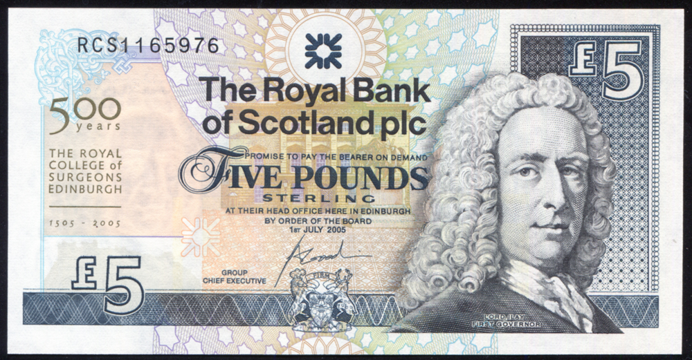 Royal Bank of Scotland 2005 £5 Goodwin (RCS1165976), A/UNC, P.352d.