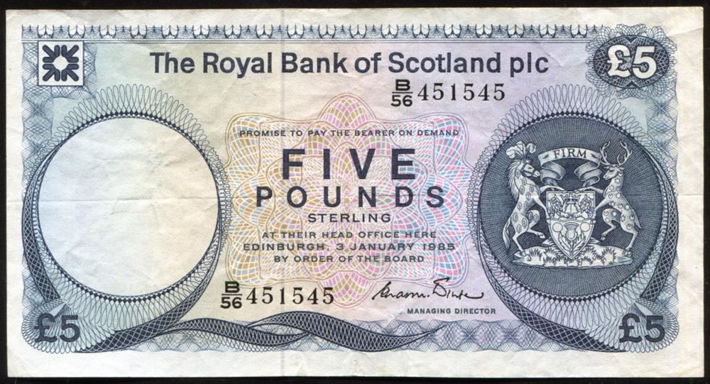 Royal Bank of Scotland 1985 £5 Winter (B/56 451545), VF++ P.342c.
