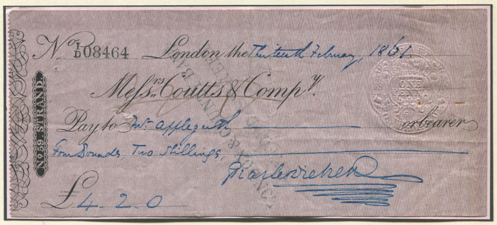 DICKENS, CHARLES (1812-1870) English Writer. Messrs Coutts & Co cheque dated 13th February 1861 filled out and signed by Charles Dickens.