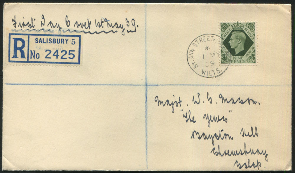 1939 1st May 9d olive green (SG.473) definitive on a clear registered 'Salisbury' first day cover.