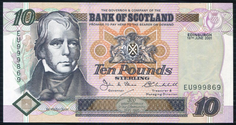 Bank of Scotland 2001 Sir Walter Scott £10, workers with distilling equipment, 'Shaw/Mitchell' (EU999869) UNC, P.120d.