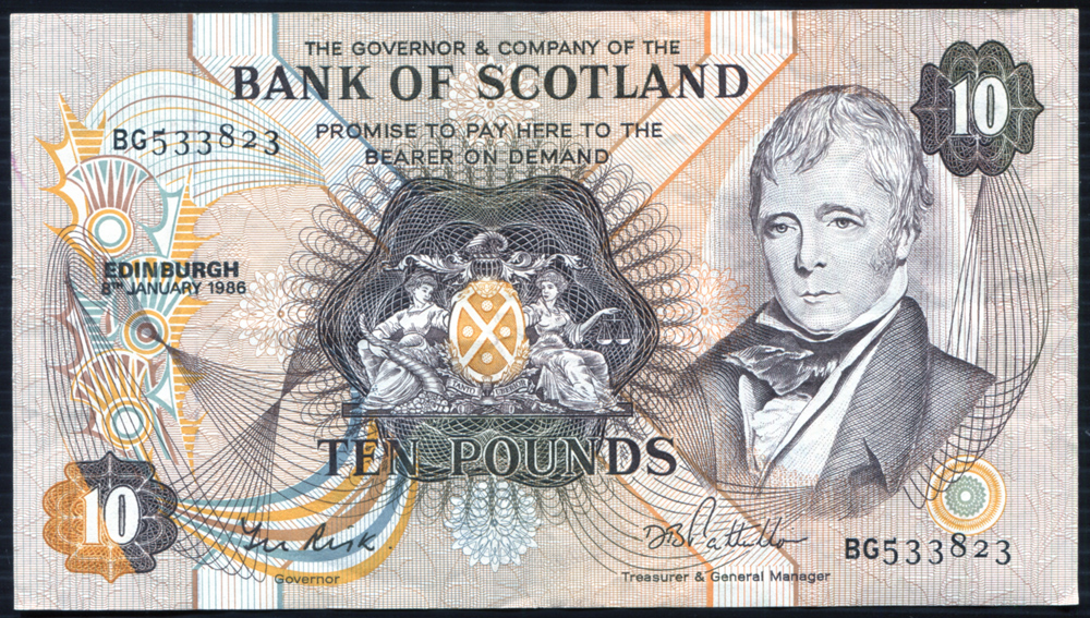 Bank of Scotland 1986 Sir Walter Scott £10 'Risk/Patullo' (BG533823) A/EF, P.113c.
